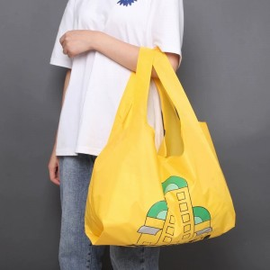 Colorful sublimation printing easy carry grocery polyester RPET shopping bag