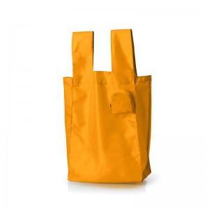 Custom Logo Foldable Shopping polyester bag into Pouch Eco Friendly Tote Reusable Grocery Bags