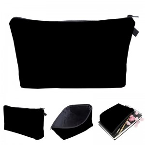 Custom Solid Cosmetic organizer bag Pure black Cosmetic Bag Fashion Women makeup bag