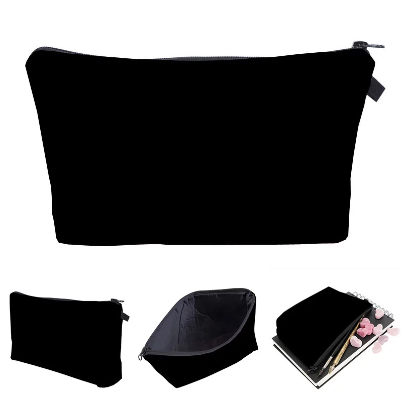 Custom Solid Cosmetic organizer bag Pure black Cosmetic Bag Fashion Women makeup bag Featured Image