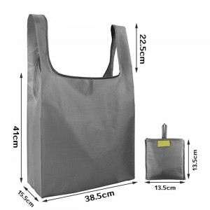 Polyester Bag Foldable - Customized Recycling Eco-Friendly Large Supermarket Grocery Reusable Foldable Polyester Rpet Shopping Bag With Pouch – Fei Fei