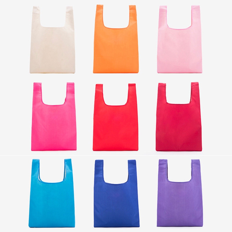 Easy carry small foldable pocket tote polyester folding shopping reusable bag Featured Image
