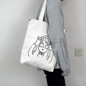 Eco-friendly good heavy duty handbag customized pattern printing canvas tote bag