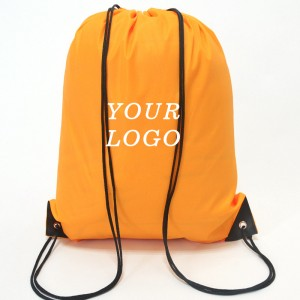 Factory custom logo sports backpack 210D polyester drawstring bag printing draw string bag for promotional