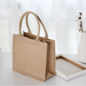 Wholesale Customized Natural Gunny Eco-Friendly Jute Tote Bag Recycle Jute Shopping Bag