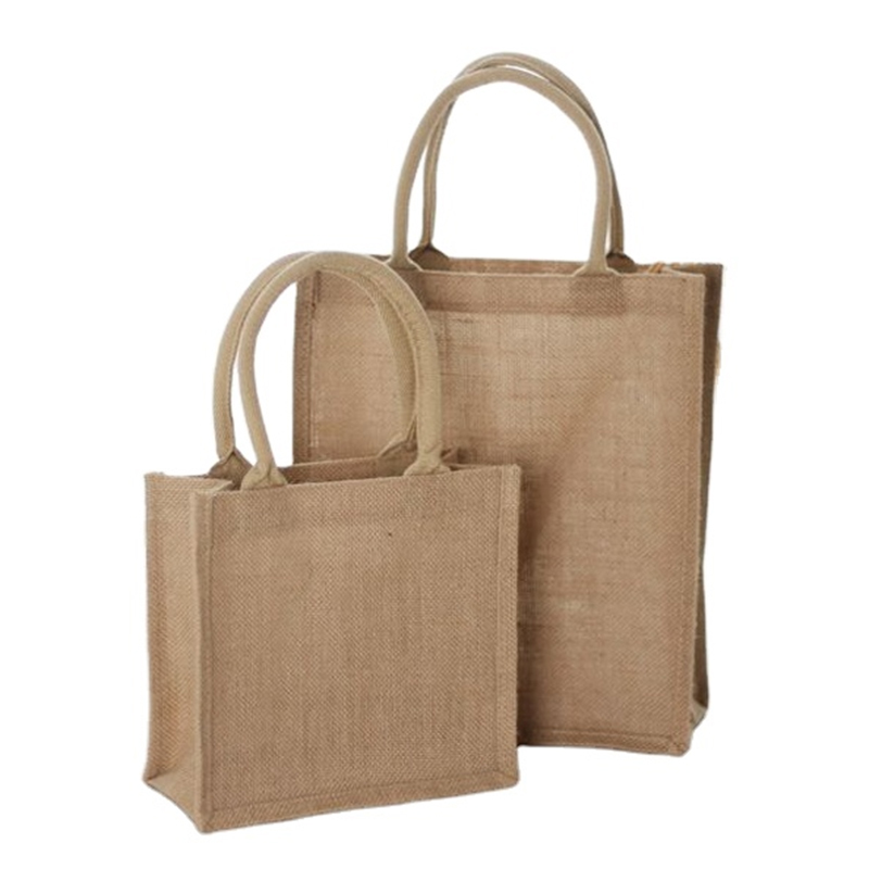 Wholesale Customized Natural Gunny Eco-Friendly Jute Tote Bag Recycle Jute Shopping Bag Featured Image