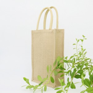 Natural color heavy jute fabric 2 bottles cotton rope handled wine bag