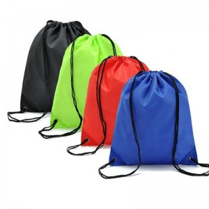 Promotional Custom Logo Practical 210D Polyester Waterproof Drawstring Gym Bags  sport drawstring backpack