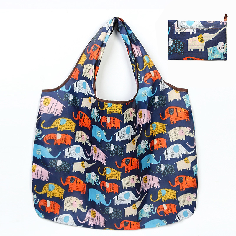 Reusable Foldable Shopping Travel Tote Bags Colorful Grocery Eco Bags With Pouch Featured Image
