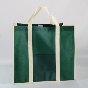 Reusable durable and high capacity non-woven grocery shopping bag with bottom card
