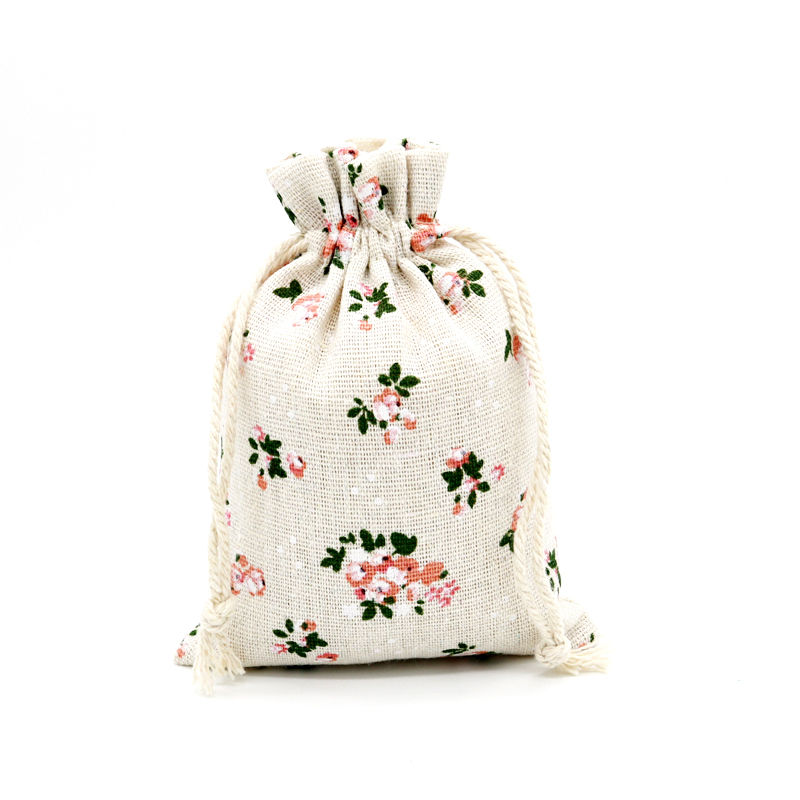 Small organic cotton canvas drawstring bag sack dust draw string cloth fabric bag with logo Featured Image