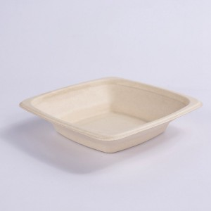 ZZ Eco Products 16 OZ Square Natural Sugarcane/Bagasse Tall Bowl-7″ x 7″ x 1 3/5″-300 count box