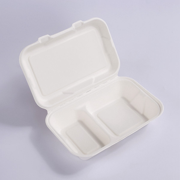 ZZ Biodegradable Rectangle White Sugarcane/Bagasse Clamshell Container-2-Compartments- 9 4/5″ x 6 1/2″ x3″ -200 count box Featured Image