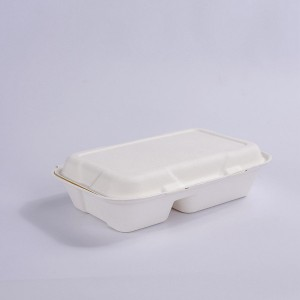 ZZ Biodegradable Rectangle White Sugarcane/Bagasse Clamshell Container-2-Compartments- 9 4/5″ x 6 1/2″ x3″ -200 count box