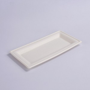 ZZ Eco Products Biodegradable White Sugarcane/Bagasse Rectangle Plate- 10″x 5″ x 4/5″-500 count box