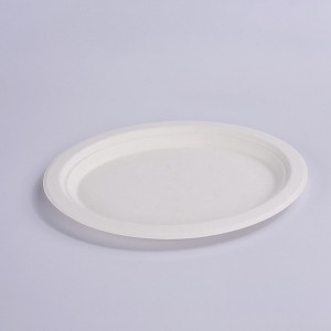 ZZ Eco Products Biodegradable White Sugarcane/Bagasse Oval Plate- 12.5″x 10″ x 1″-500 count box