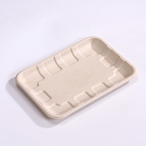 "OEM/ODM Factory Recycle Sugarcane Takeaway Disposable Lunch Box - ZZ Eco Products TAN Fiber Meat Trays- 8 "" X 5 3/5″ X 0.6″, 4/125 – ZHONGSHENG"