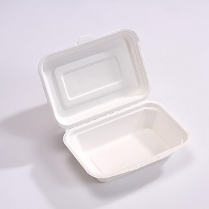 ZZ Biodegradable Rectangle White Sugarcane/Bagasse Clamshell Container-450 ML- 500 count box