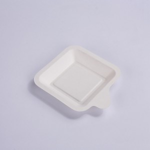 ZZ Eco Products Square White Sugarcane / Bagasse Small Trays -4 1/4″ x 5″ x 1/2″ – 2400 count box