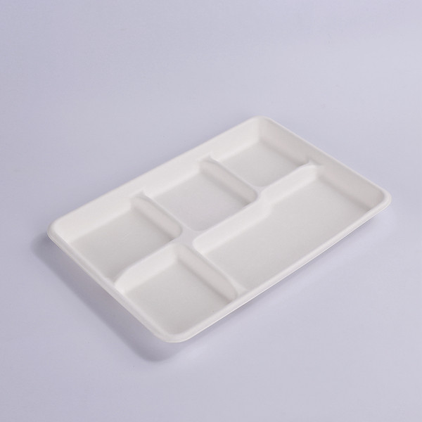 ZZ Eco Products 5-Compartments Lunch Tray 12.5″ x 8 1/2″ x 1″-500 count box Featured Image