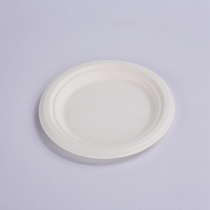 Serve side dishes and desserts on this ZZ biodegradable sugarcane / bagasse 6″ plate.