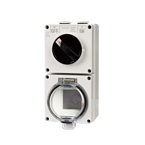 IP66 1 gang 16A switch + 1 gang socket with transparent cover empty enclosure