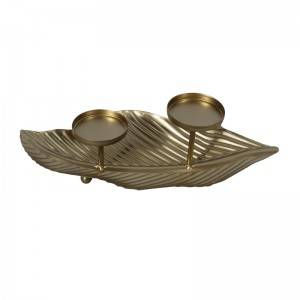 New Special Metal Leaf Design 2 Cup shape Candle Holder Event Decoration Furniture.