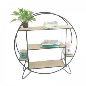 Home Living Room Metal Wood Round Storage Display Book Shelf Wall Rack