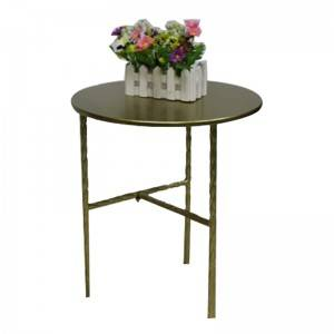 Steel Furniture Set of two Table Manufacturer Weather Resistant Round Golden Table