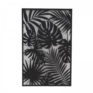 Black Iron Frame Wall Decor with Plant Design