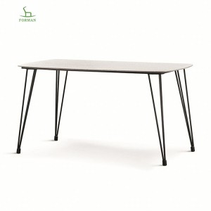 High reputation Table With Metal Leg - temper glass top fire stone surface marble dining table T-39# – Forman