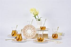 glass cup & saucer set ,90cc Espresso glass Cups with Saucers, cups with Golden Handle, for Espresso and coffee, glazed saucer with glass cup