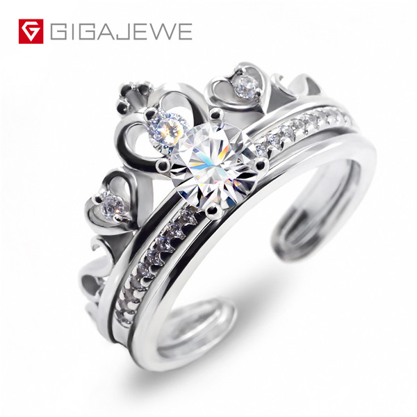 Discount wholesale Moissanite Golden Earing - GIGAJEWE Moissanite Ring 0.6ct 5.5mm Round Cut F Color 925 Silver Gold Multi-layer Plated – Jujia