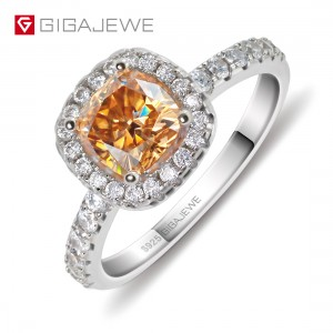 GIGAJEWE Golden 1.0ct Cushion Cut Diamond Test Passed Moissanite 18K Gold Plated 925 Silver Ring Jewellery
