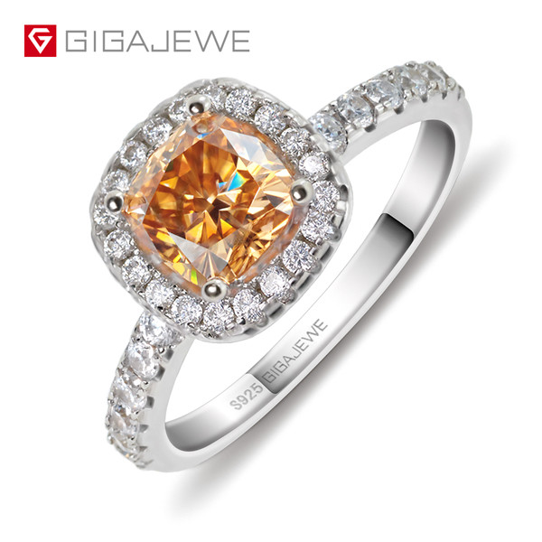 High Quality for Rough Synthetic Diamonds - GIGAJEWE Golden 1.0ct Cushion Cut Diamond Test Passed Moissanite 18K Gold Plated 925 Silver Ring Jewellery – Jujia