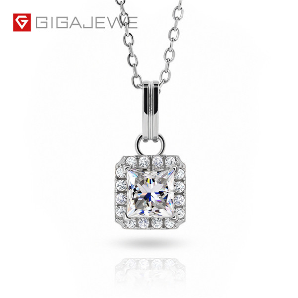 Bottom price Lab Grown Diamonds - GIGAJEWE 1.2CT 6.0MM PRINCESS 18K WHITE GOLD PLATED 925 SILVER MOISSANITE NECKLACE DIAMOND TEST PASSED JEWELRY – Jujia Featured Image