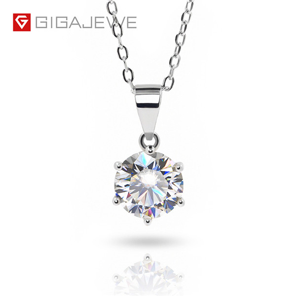 GIGAJEWE 2.0CT 8MM EF VVS ROUND 18K WHITE GOLD PLATED 925 SILVER MOISSANITE NECKLACE Featured Image