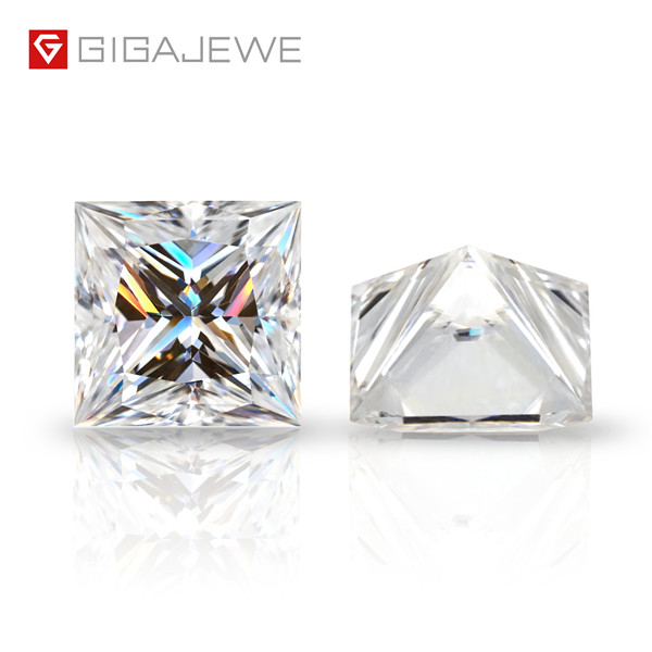 Cheap PriceList for Champagne Round Moissanite Stone - GIGAJEWE D Top Color 0.5-6.0ct Princess Cut Moissanite Loose Diamond Test Passed Gemstone For Jewelry Making Certificate Gift – Jujia