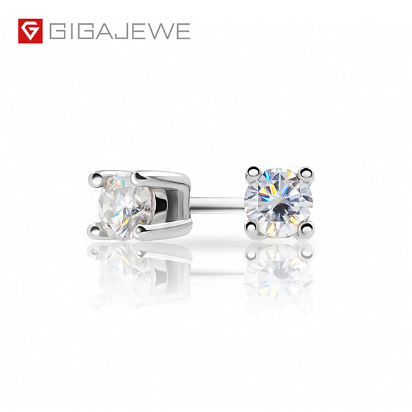 GIGAJEWE EF ROUND CUT TOTAL 0.2CT DIAMOND TEST PASSED MOISSANITE 18K GOLD PLATED 925 SILVER EARRINGS JEWELRY Featured Image