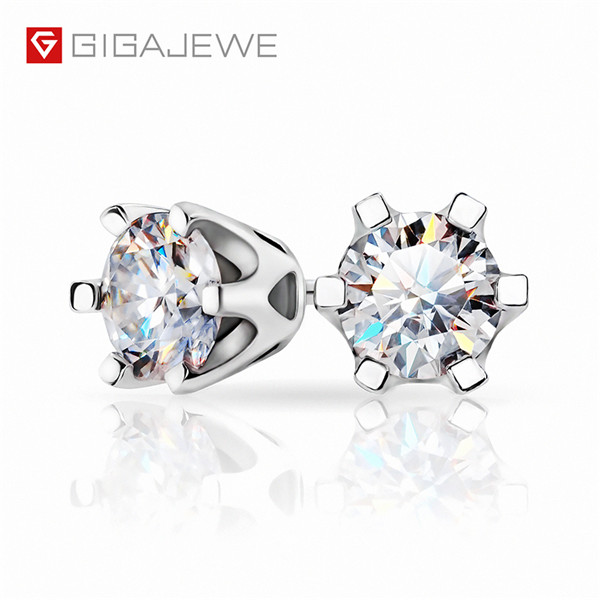 GIGAJEWE EF TOTAL 1CT ROUND CUT DIAMOND TEST PASSED MOISSANITE 18K WHITE GOLD PLATED 925 SILVER EARRINGS Featured Image