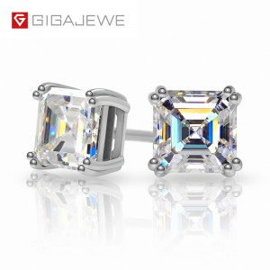 China wholesale Loose Moissanite - IGAJEWE TOTAL 1.6CT EF ASSCHER DIAMOND TEST PASSED MOISSANITE 18K WHITE GOLD PLATED 925 SILVER EARRING JEWELRY GIRLFRIEND GIFT – Jujia