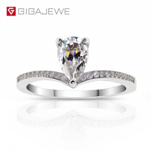 Massive Selection for Round White Earrings - GIGAJEWE Moissanite Ring 1.0ct 6X8mm Pear Cut F Color 925 Silver Gold Multi-layer Plated – Jujia