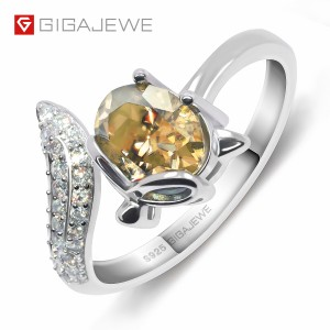 Chinese Professional Syhthetic diamond raw material - GIGAJEWE 1.5ct VVS1 Oval Cut Diamond Test Passed Lovely Fox 925 Silver Ring Moissanite Jewelry – Jujia