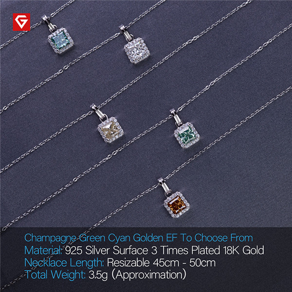 Bottom price Lab Grown Diamonds - GIGAJEWE 1.2CT 6.0MM PRINCESS 18K WHITE GOLD PLATED 925 SILVER MOISSANITE NECKLACE DIAMOND TEST PASSED JEWELRY – Jujia