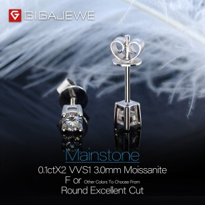 GIGAJEWE EF ROUND CUT TOTAL 0.2CT DIAMOND TEST PASSED MOISSANITE 18K GOLD PLATED 925 SILVER EARRINGS JEWELRY