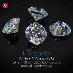 GIGAJEWE D Colour Excellent Cushion Cut Moissanite Loose Diamond Pass Tester Gems Stone For Jewelry making