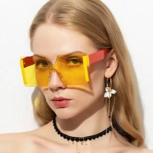 Luxury Rimless Oversized Square Sunglasses Fashion Gradient Sunglasses Women