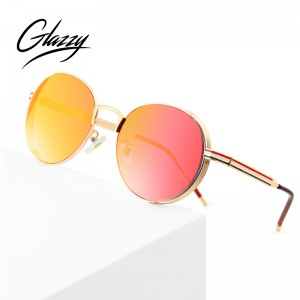 Metal Frame Round Women Sunglasses Colorful Ocean Film Pilot Sun Glasses