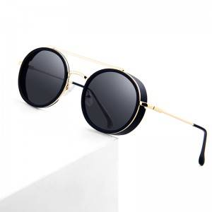 2020 New Steampunk Sunglasses Luxury Men Round Metal Sunglasses
