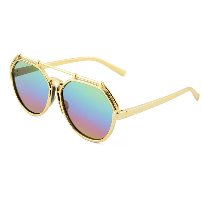 OEM China Little Girls Sunglasses Manufacturers –  New Trendy round size and rainbow color lens retro sunglasses with golden frame – Baolai